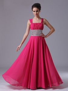 Hot Sale Column Hot Pink Straps Ruched Prom Celebrity Dress