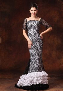 Square Neck Half Sleeves Ruffled Black and White Prom Dress