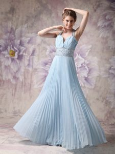 Halter Top Pleated Baby Blue Prom Dresses with Rhinestones