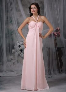 Trendy Simple Chiffon Pink Straps Ruched Prom Holiday Dresses