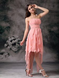 Unique Watermelon Beaded Ruched Knee-length Prom Party Dress