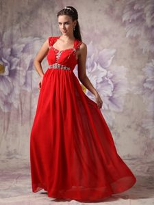 Plus Size Chiffon Empire Beaded Straps Red Prom Dress Chiffon