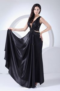 Beaded and Ruched Black Taffeta Prom Maxi Dress with Plunging Neckline