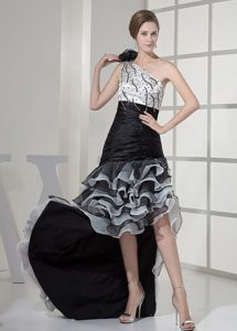 Asymmetrical White and Black Prom Maxi Dress with Beading and Ruffles