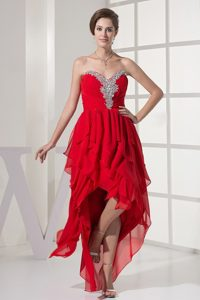 Red Asymmetrical Sweetheart Prom Maxi Dress with Beading and Ruches