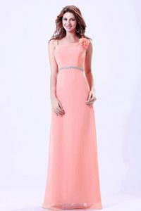 Empire Spaghetti Straps Long Watermelon Prom Holiday Dress