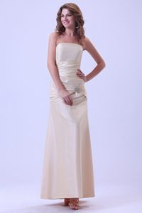 Empire Strapless Ankle-length Champagne Prom Dress A-line