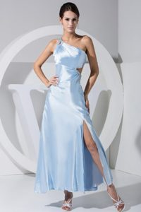One Shoulder Light Blue Slitted Prom Dress with Cutouts On Waist