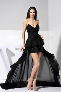 Sequined and Flounced Black V-neck Prom Court Dresses in Black 2013