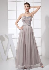 Chiffon Grey Beaded Ankle-length Prom formal Dress in Style