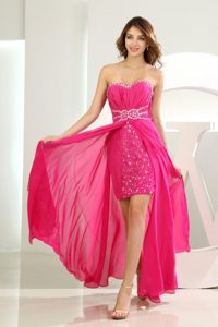 Beading and Ruches Accent High-low Prom Court Dresses in Hot Pink