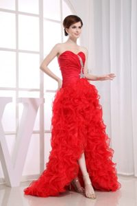 Ruched Red High-low Prom Court Dresses with Ruffles and Beading
