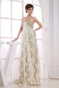 Champagne Floor Length Prom Court Dresses with Lace and Sequins