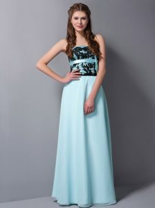 Lace and Sash Accent Floor Length Dresses for JS Prom in Aqua Blue