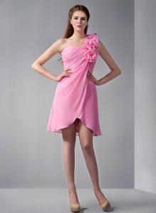 Flowery One Shoulder Mini Length Dresses for JS Prom in Rose Pink