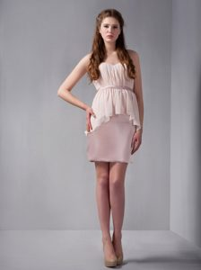 Pink Satin and Chiffon Sweetheart Dresses for JS Prom with Peplum