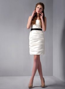 2013 New Black Sash White Dresses for JS Prom with Spaghetti Straps