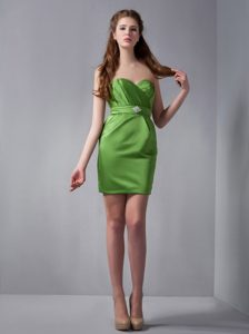 Beading and Ruches Accent Mini Prom Theme Dresses in Spring Green