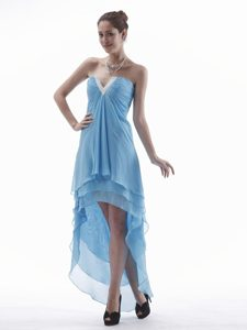 Light Blue V-neck High-low Chiffon Prom Theme Dresses on Promotion