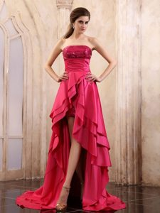 Sequined and Ruched High-low Prom Theme Dresses in Coral Red 2013