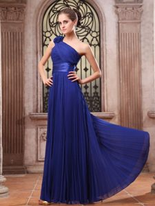 One Shoulder Pleated Royal Blue Prom Dress with Flower
