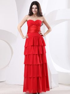 Empire Sweetheart Ruffled Layers Red Long Prom Holiday Dress