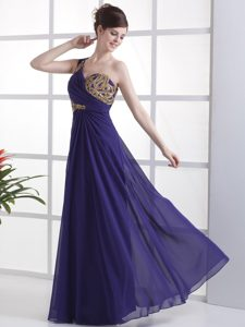 Plus Size Beaded One Shoulder Purple Long Prom Celebrity Dress