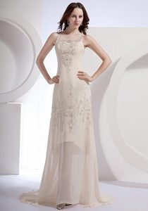 Champagne Scoop Brush Train Prom Cocktail Dress with Beading 2014