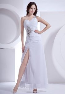 Appliqued One Shoulder White Ankle Length Prom Cocktail Dress 2013