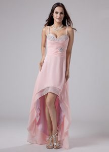 Best Pink High-low Chiffon Prom Cocktail Dress with Spaghetti Straps