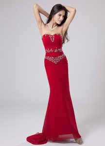 Customize Unique Mermaid Sweetheart Red Prom Dress with Rhinestones