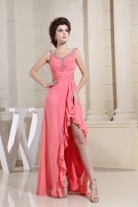 Watermelon Scoop Neck High-low Ruched Beaded Prom Dress in Vogue