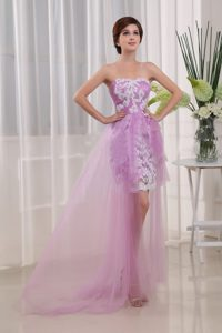 fashionable Lavender Strapless Prom Gown Dress with Appliques Brush Train