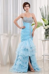 Mermaid Lace-up Ruffled Layers Prom Party Dress with Beading and ruche
