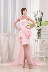 2013 Pretty Asymmetrical One Shoulder Prom Dress Hand Made Flowers