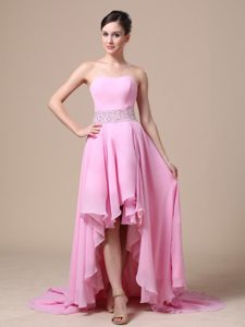 Asymmetrical Prom Evening Dress Strapless with Beading Decorate Waist