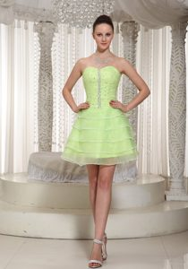 Multi-layer Beaded Prom Cocktail Dress Yellow Green with Lace up Back