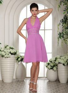 Best Halter Top Mini-length Prom Gown Dress Chiffon with Ruche Beading