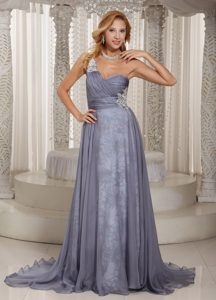 Gray Appliques Mother Of the Bride Dress Ruche One Shoulder Brush Train