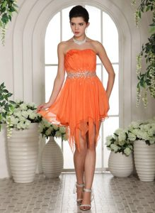 Discount Orange Strapless Ruched Prom Cocktail Dress Beading High-low