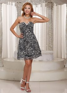 Newest Leopard Print Chiffon Prom Celebrity Dress Mini-length Sweetheart