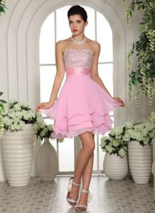 Sweet Pink Multi-layer Chiffon Prom Cocktail Dresses Beaded Sweetheart