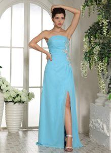 Pretty Ruche Prom Party Dresses Strapless Appliques with Slit on the Side