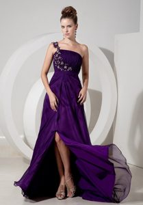 Purple High Slit Prom Evening Dress Appliques One Shoulder Floor-length