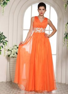Zipper Side V-neck Prom Gowns Dresses Sleeveless with Beading Waist