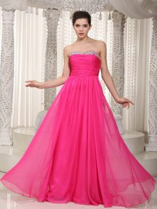 Princess Chiffon Prom Evening Dresses Floor-length Beaded Sweetheart