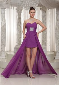 Newest Purple Sweetheart Beaded Prom Gown Dress High-low with Ruche