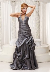 Plunging Neckline Prom Dress Appliques Halter Top with Pick-ups in 2013