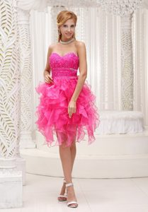 Special High-low Prom Nightclub Dresses Beaded Sweetheart in Hot Pink