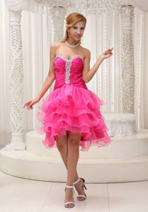 Sweet Organza Ruched Prom Cocktail Dress Beading Multi-tiered Ruffles